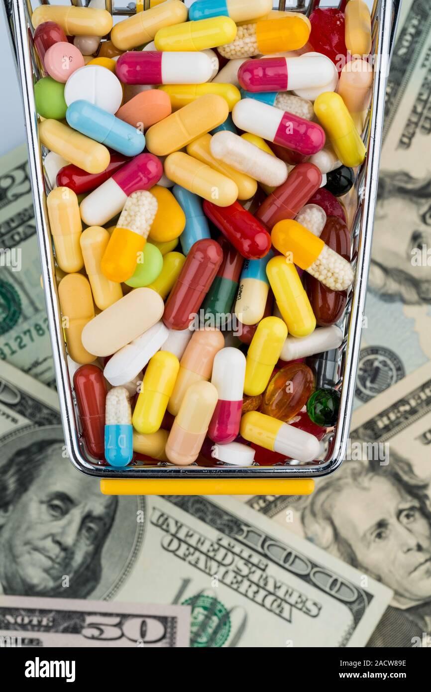 Tablets, Shopping Cart, Dollars Stock Photo