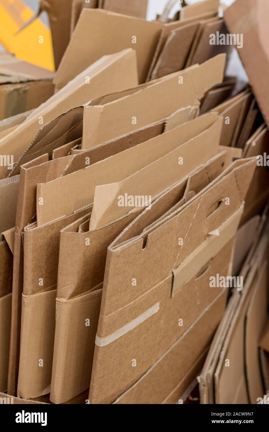 Cardboard boxes for waste paper collection Stock Photo