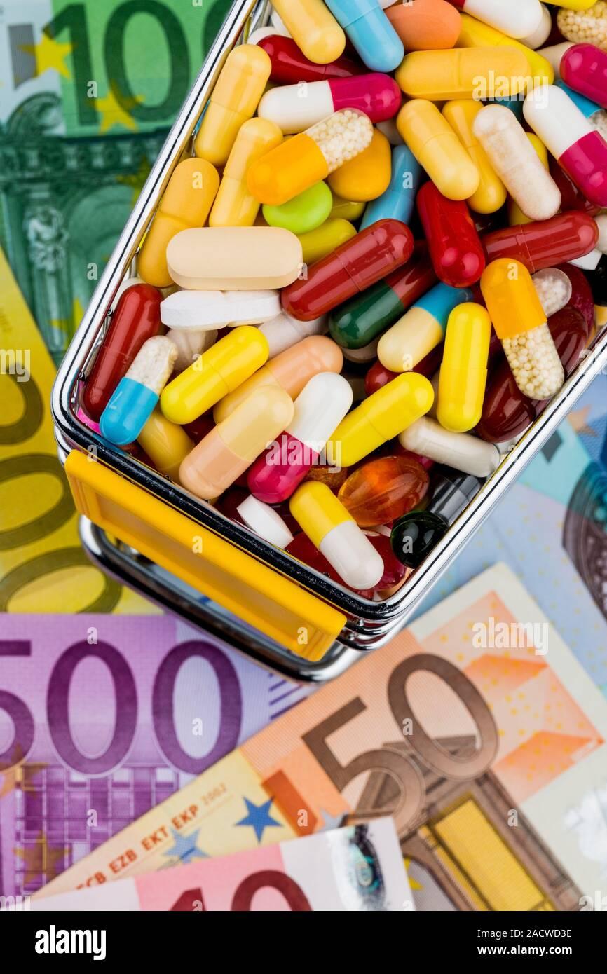 Tablets, Shopping Cart, Euro Notes Stock Photo