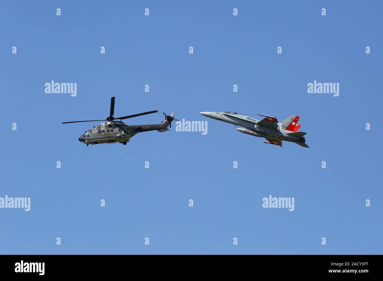 Payerne Flight Show, Air Component Flight Helicopter Super Puma and FA-18 Stock Photo