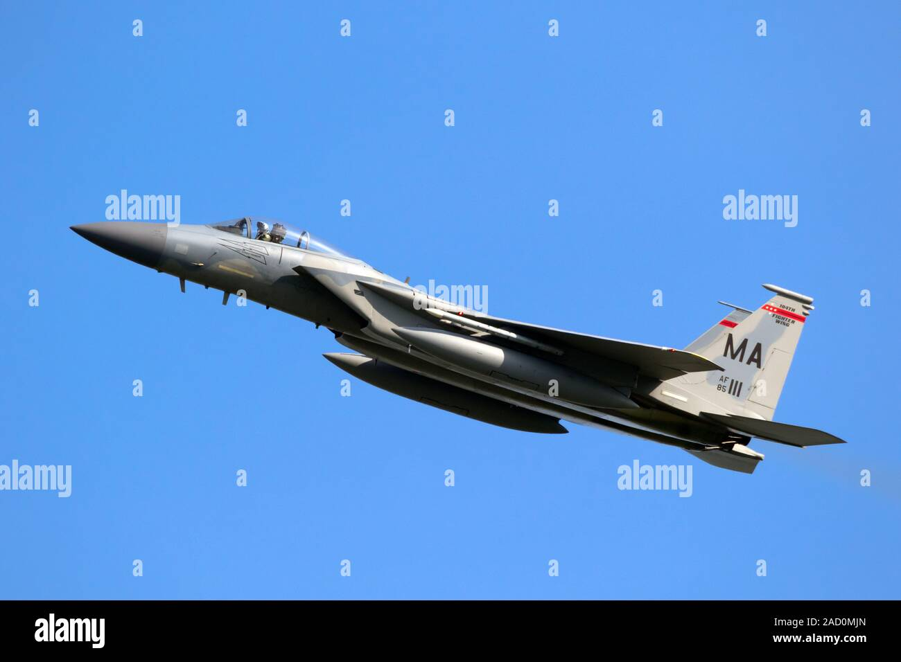 LEEUWARDEN, NETHERLANDS - APR 19, 2018: US Air Force F-15 Eagle fighter jet aircraft from the Massachusetts Air National Guard taking off during exerc Stock Photo