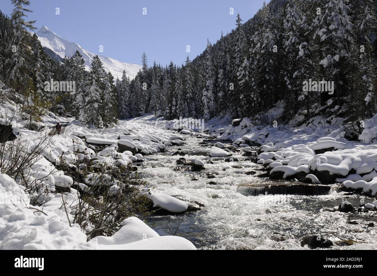 Krimmler Ache in winter Stock Photo