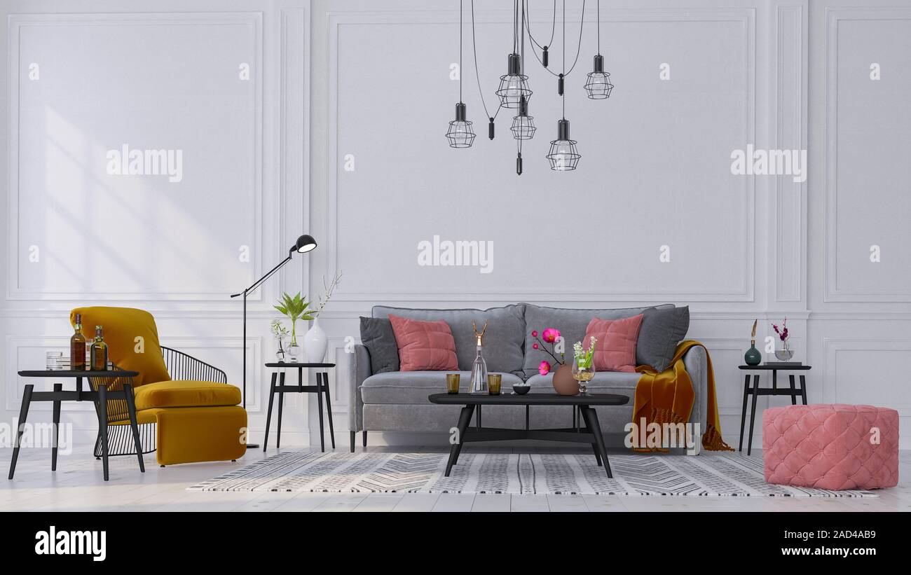 Decorative Backdrop Of A Room At Home Office And Hotel Modern Interior Design Sofa And Bright Modern Interior Details On The Background Of A White C Stock Photo Alamy