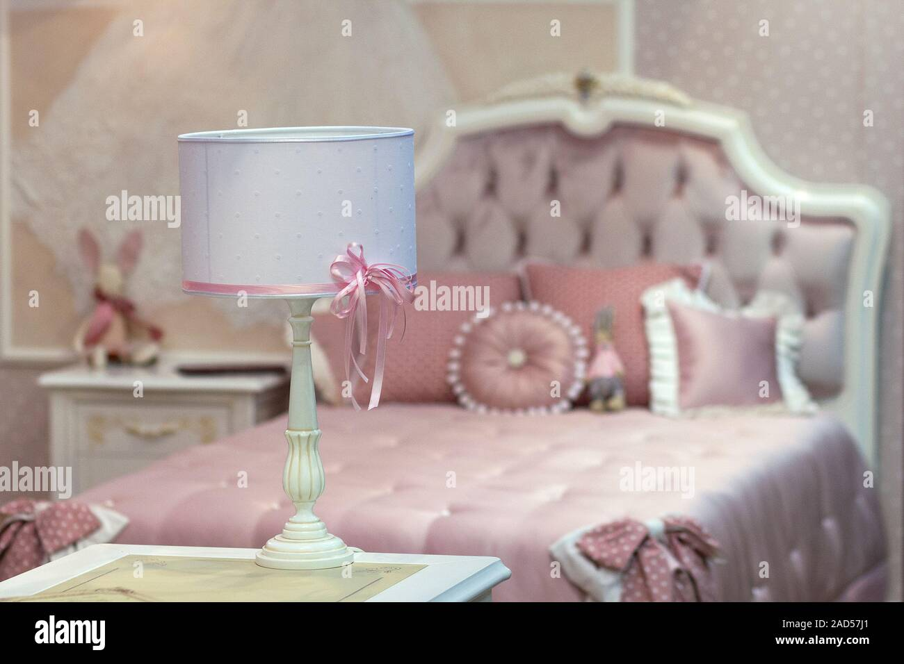 Table Lamp And A Bed In The Children S Bedroom Interior Stock Photo Alamy