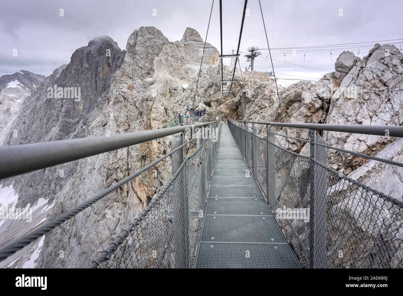 Suspension bridge on the Dachstein, Styria, Austria Stock Photo ...