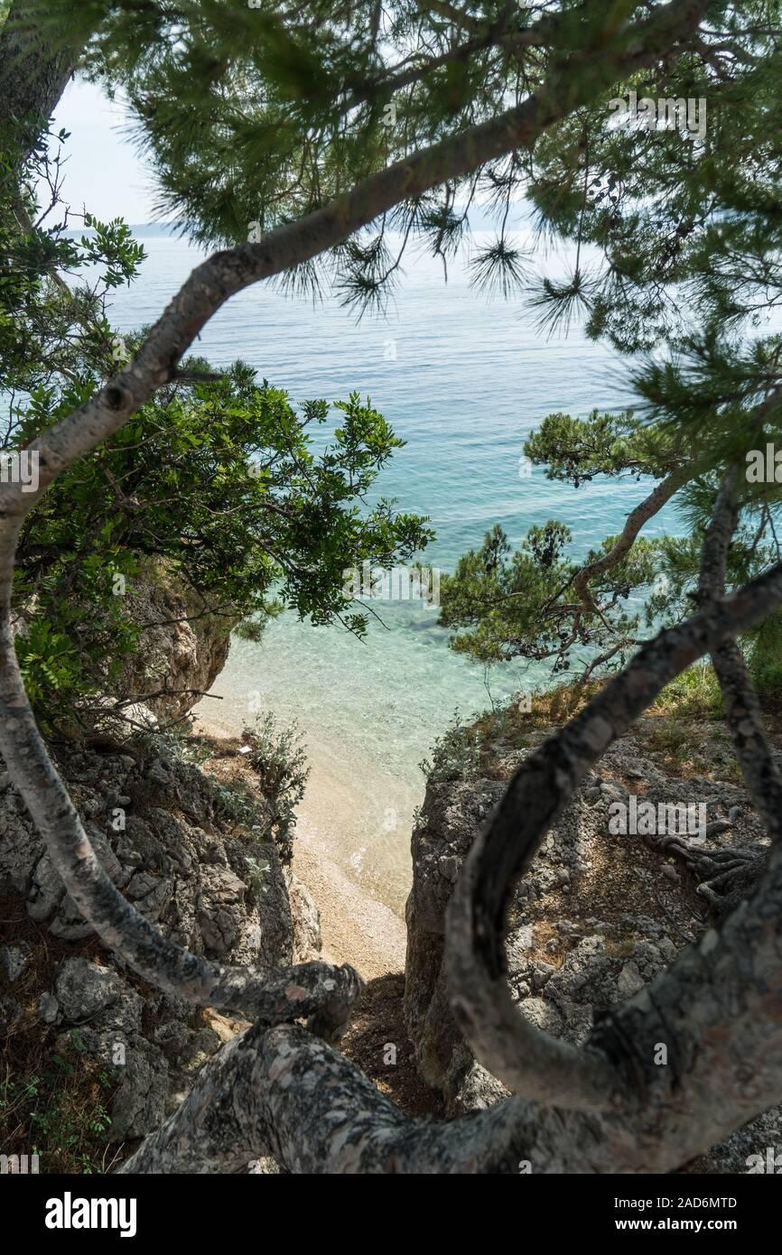 Croatian beach in Brela Stock Photo