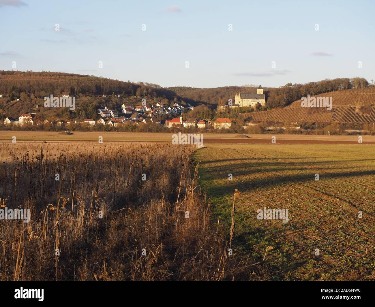 The Main valley near Schweinfurt am Main, Lower Franconia, Franconia, Bavaria, Germany Stock Photo