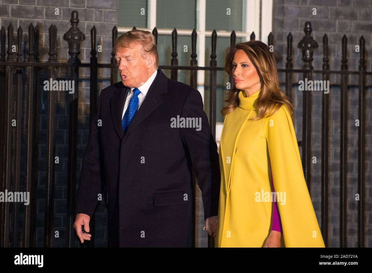 London, UK. 3 December 2019.  Pictured: (left) Donald J Trump - 45th President of the United Starts of America, (right) Melania Trump - First Lady. Boris Johnson, UK Prime Minister hosts a reception with foreign leaders ahead of the NATO (North Atlantic Treaty Organisation) meeting on the 4th December. Credit: Colin Fisher/Alamy Live News Stock Photo