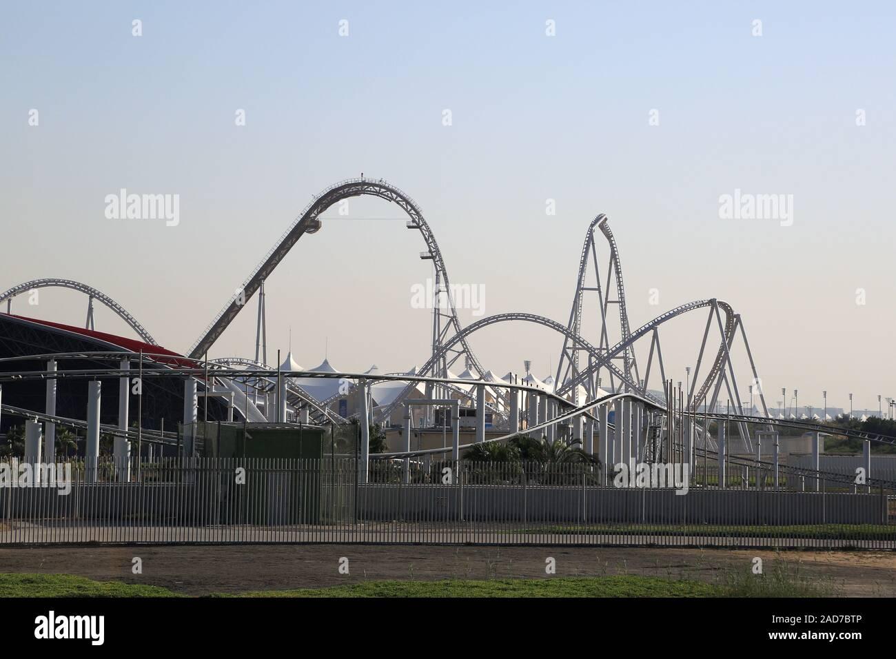 Abu Dhabi Formula Rossa Roller Coaster At Ferrari World Stock Photo Alamy