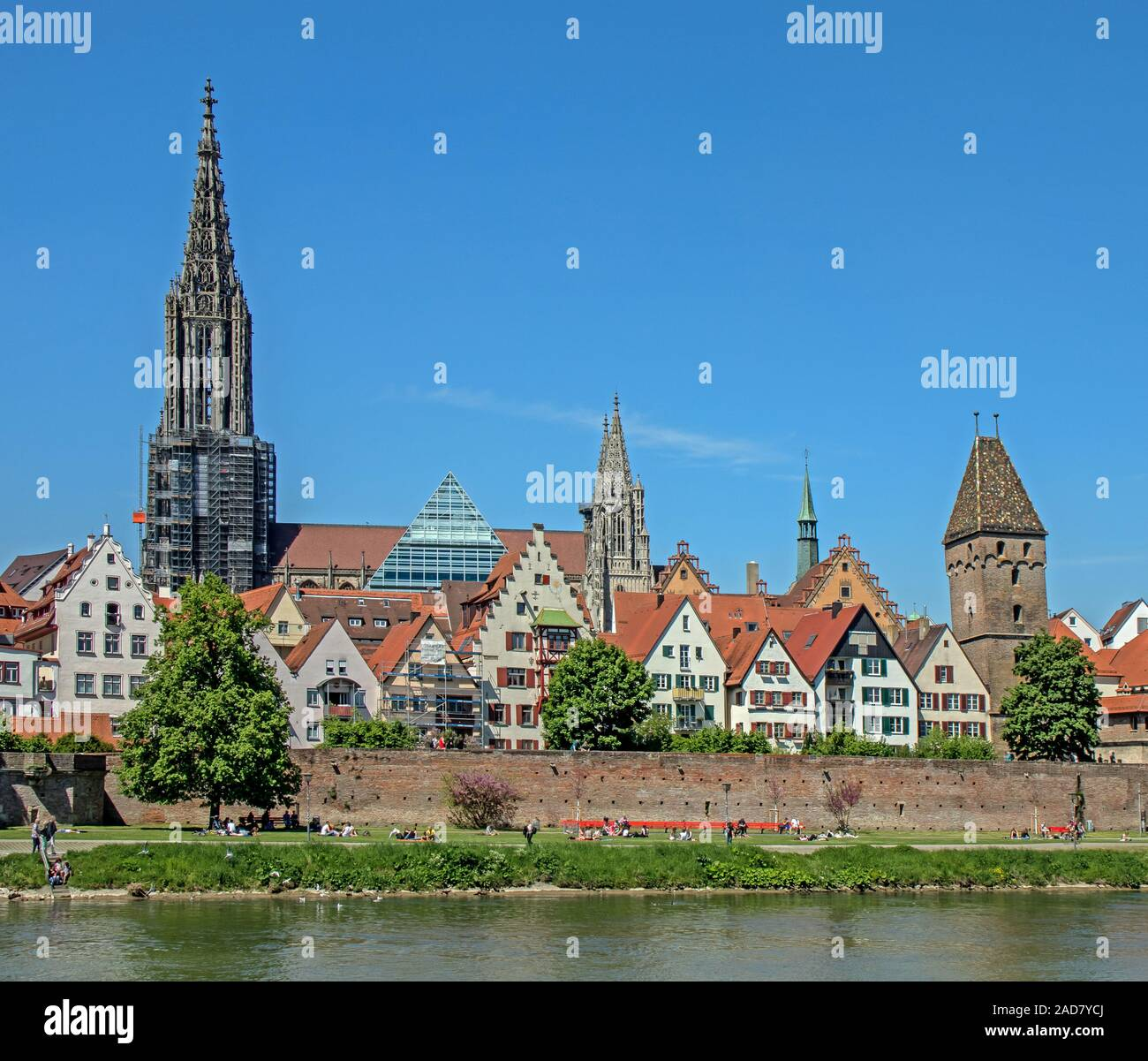 Ulm at the Danube with City wall, Minster and Metzgerturm Stock Photo