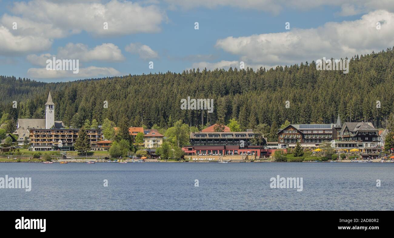Lake Titisee With Hotel Buildings And Church Christkonig Titisee Neustadt In The Black Forest Stock Photo Alamy