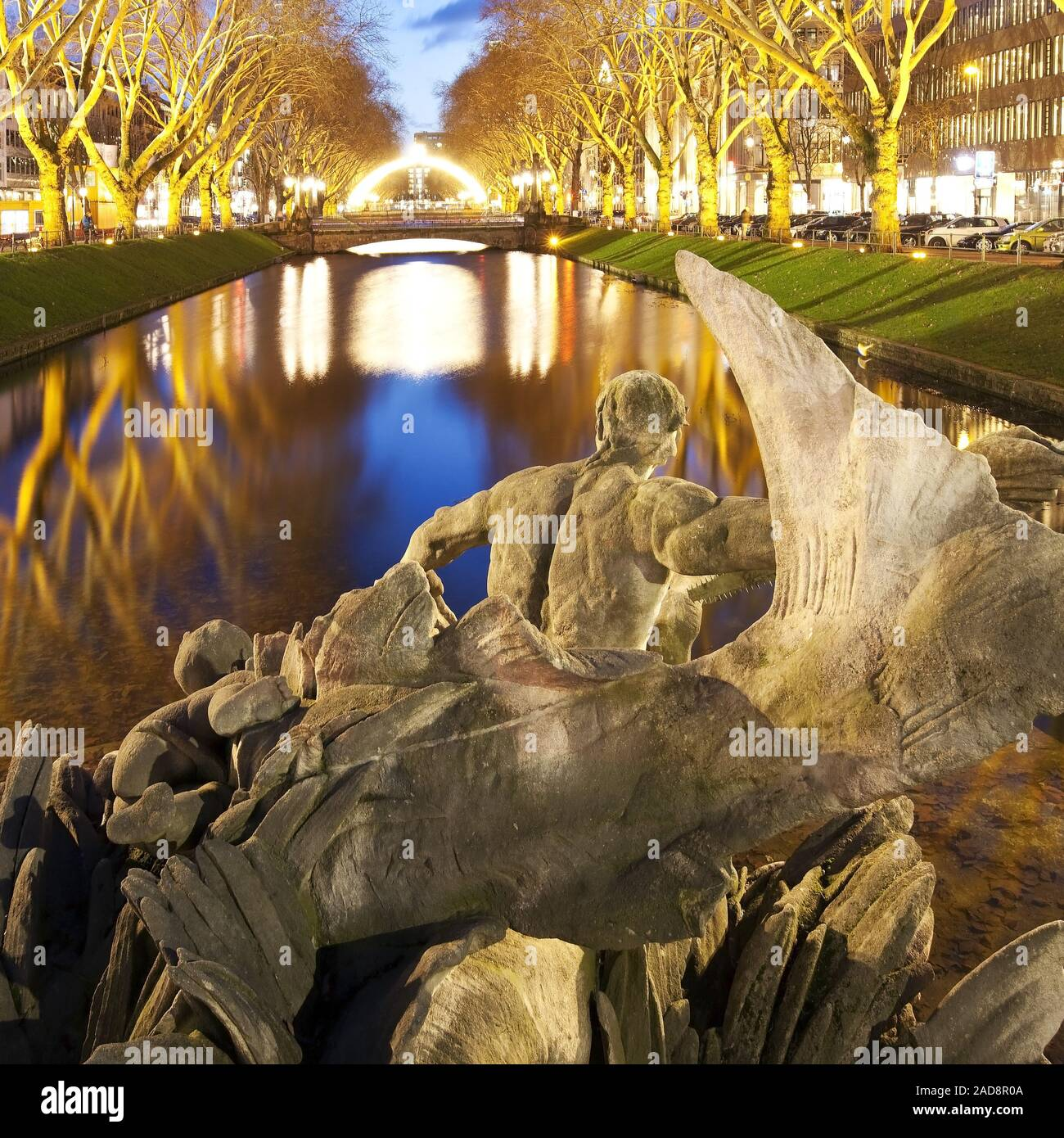 Triton fountain at Koenigsallee in the evening, Duesseldorf, North Rhine-Westphalia, Germany, Europe Stock Photo