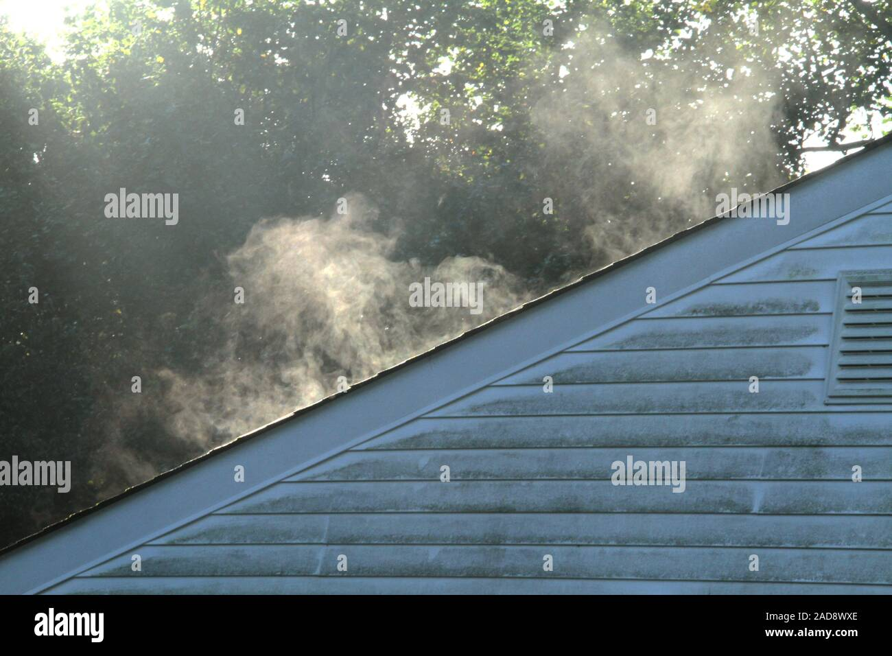 Vapors coming out of a house roof after rain. Stock Photo