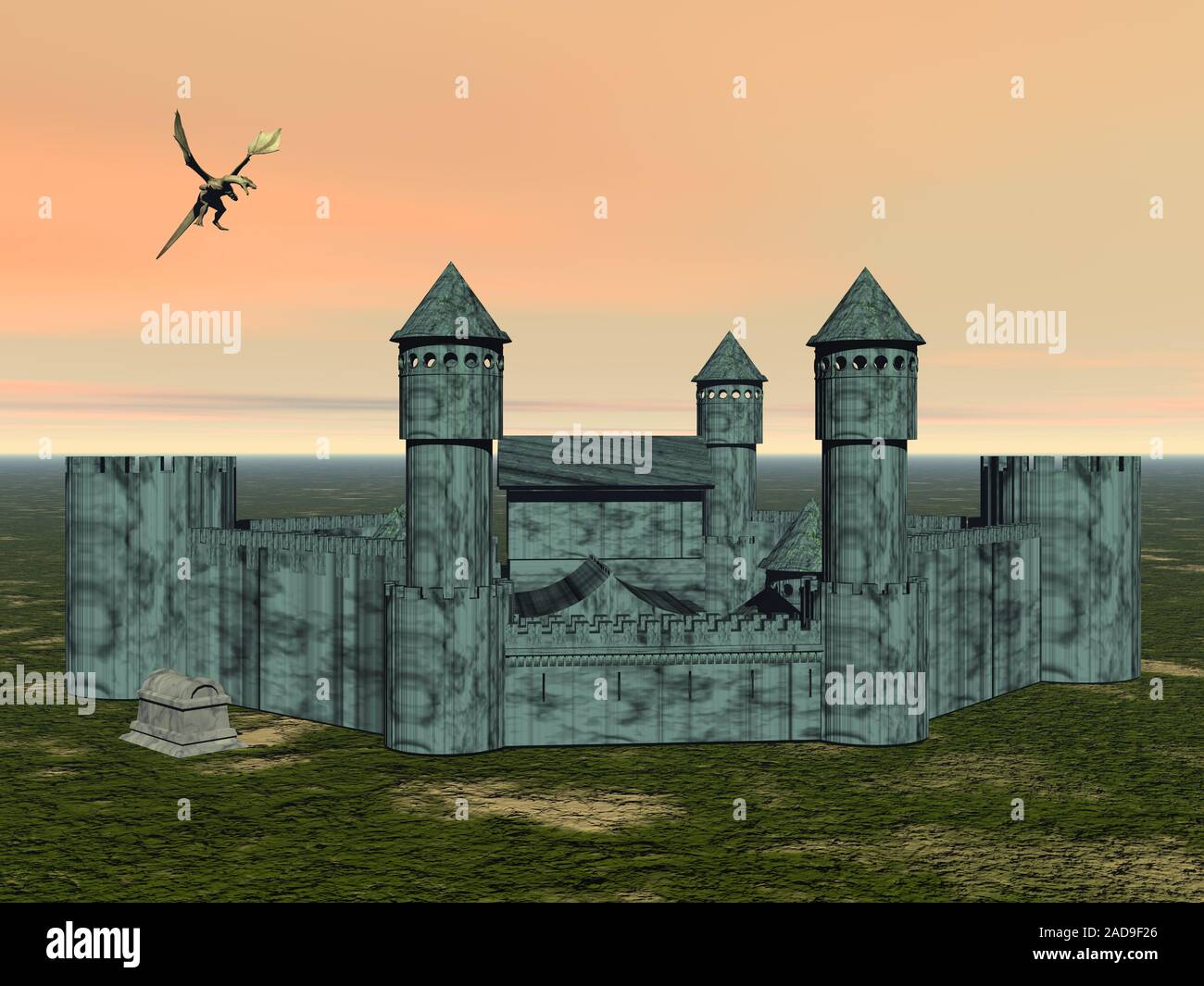 Flying dragon is circling over fortress Stock Photo