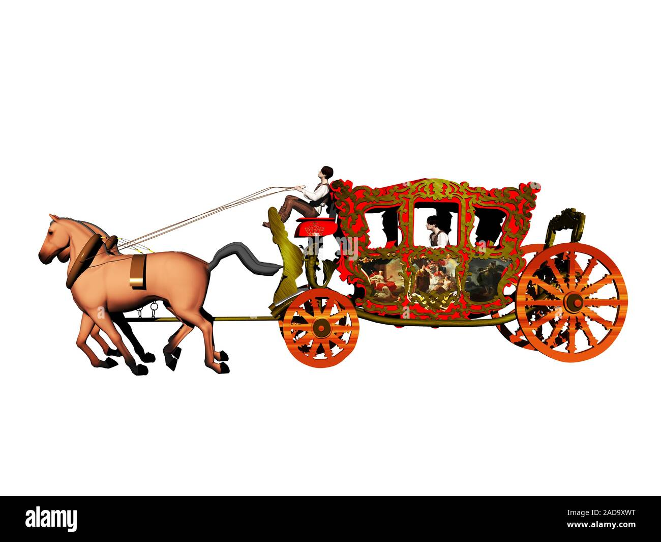 royal carriage with draft horses Stock Photo