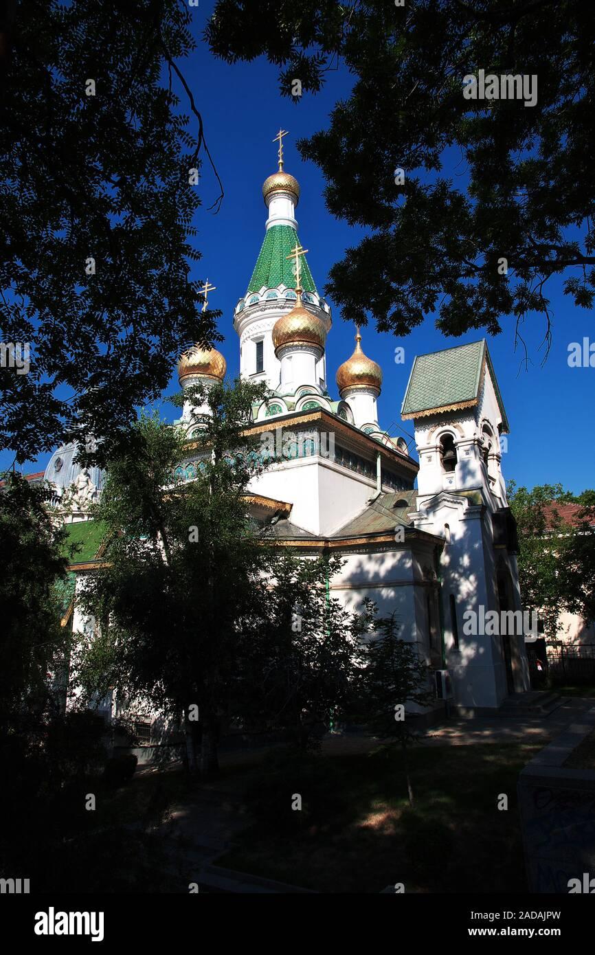 Saint Nikolas Russian Church, Tsurkva Sveta Nikolai in Sofia, Bulgaria Stock Photo