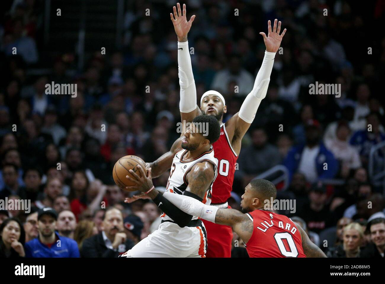 Los Angeles California Usa 3rd Dec 2019 Los Angeles Clippers Paul George 13 Drives Between Portland