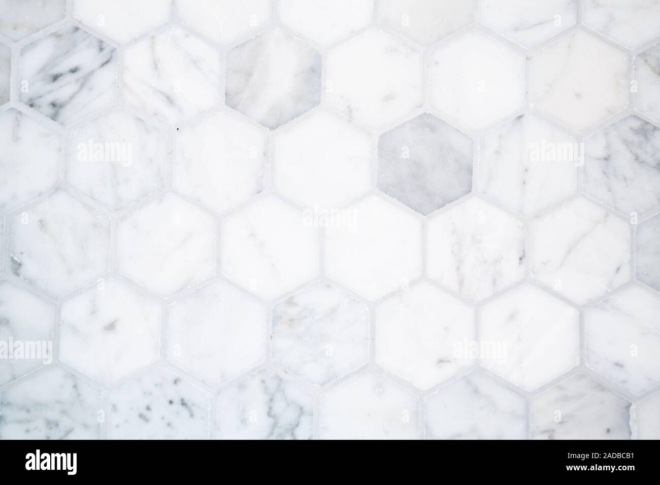 Marble Hexagon Tile Floor Background Pattern With Gray Grout Stock Photo Alamy