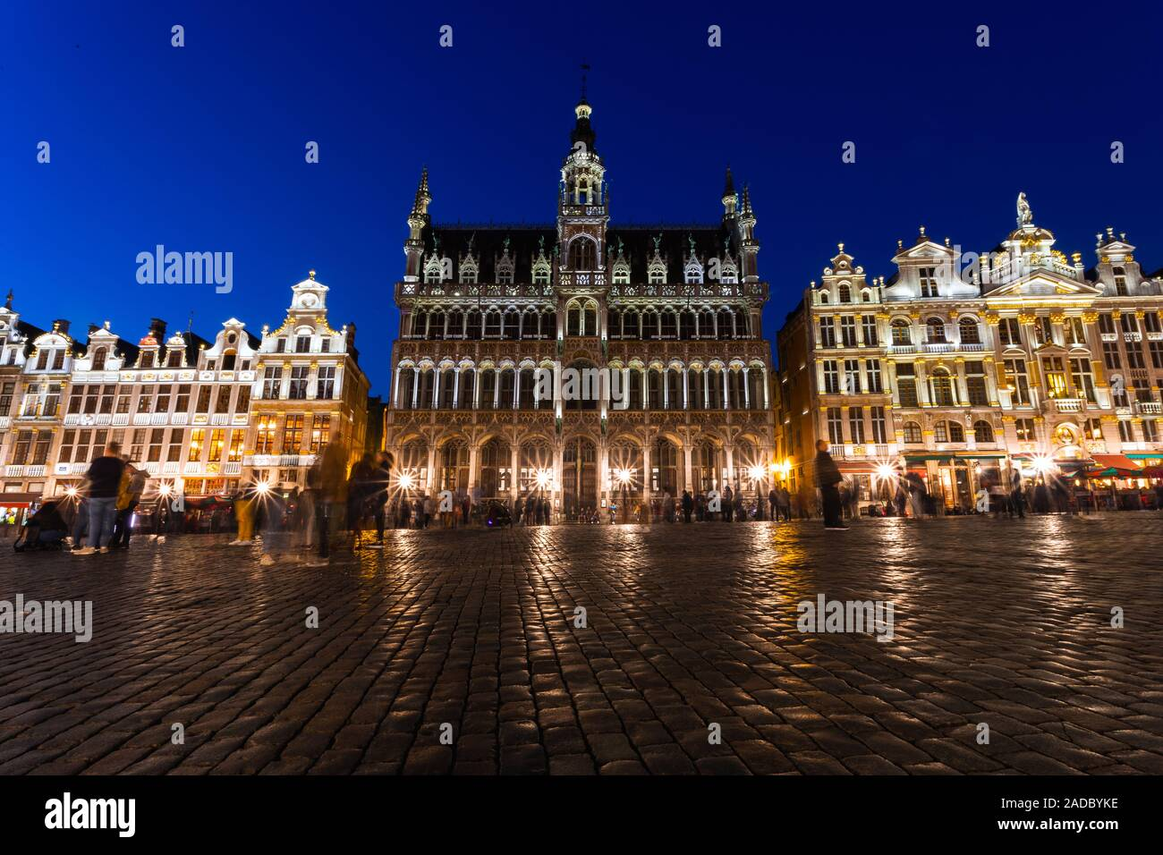 Grand Place in Brussels at night, Belgium Stock Photo