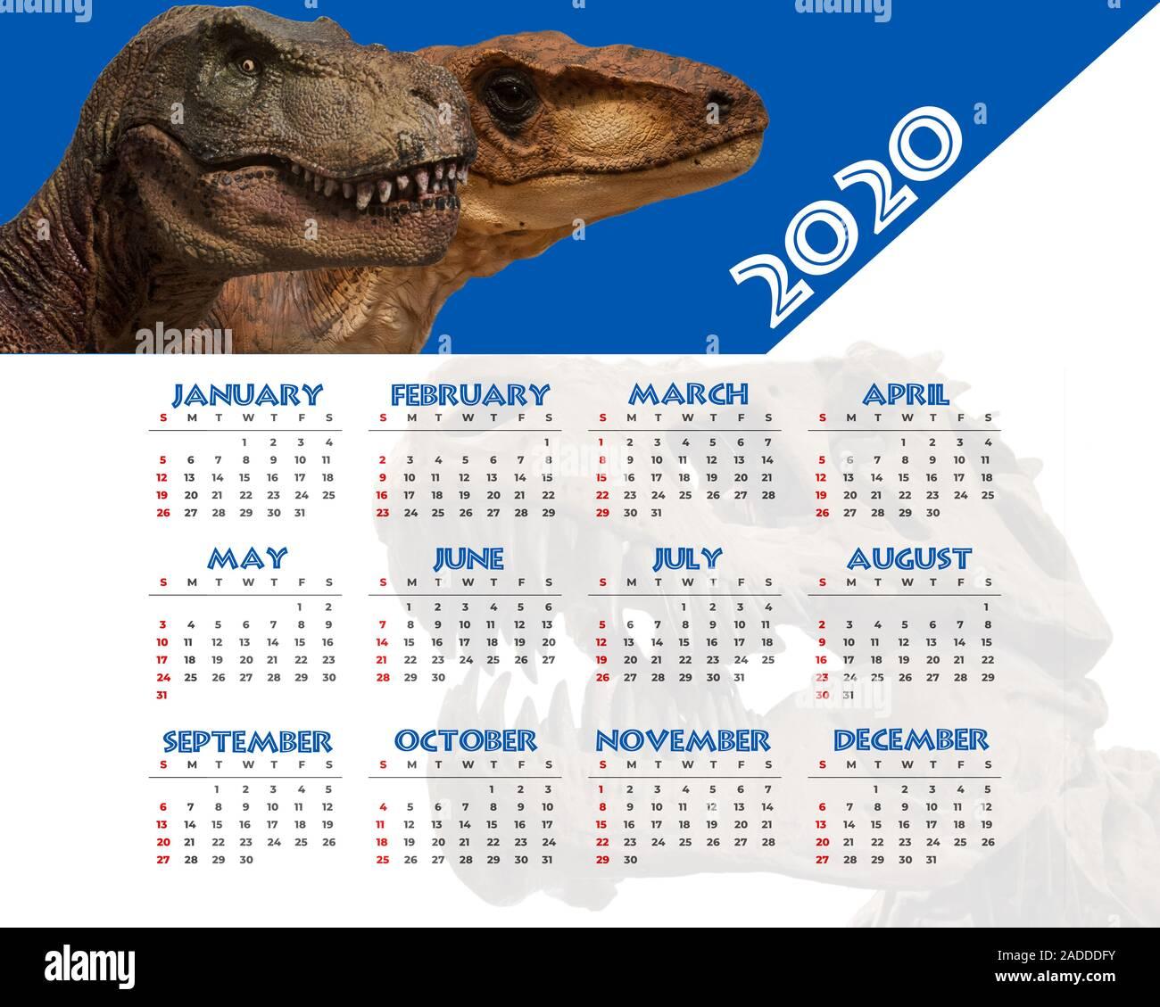 2020 Dinosaur calendar