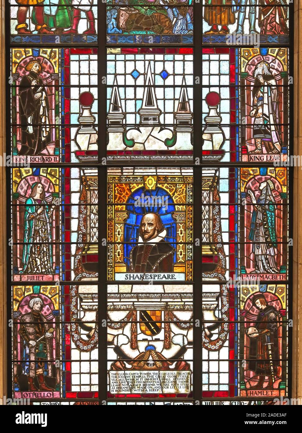 Manchester Central library,Shakespeare plays Stained Glass Windows,City Centre,North west England,UK Stock Photo