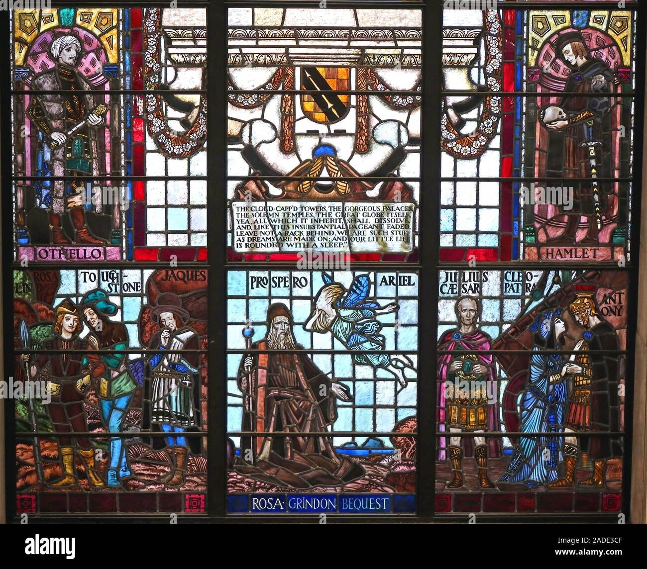 Manchester Central library,Shakespeare plays Stained Glass Windows,City Centre,North west England,UK,Othello,Hamlet,As You Like It Stock Photo