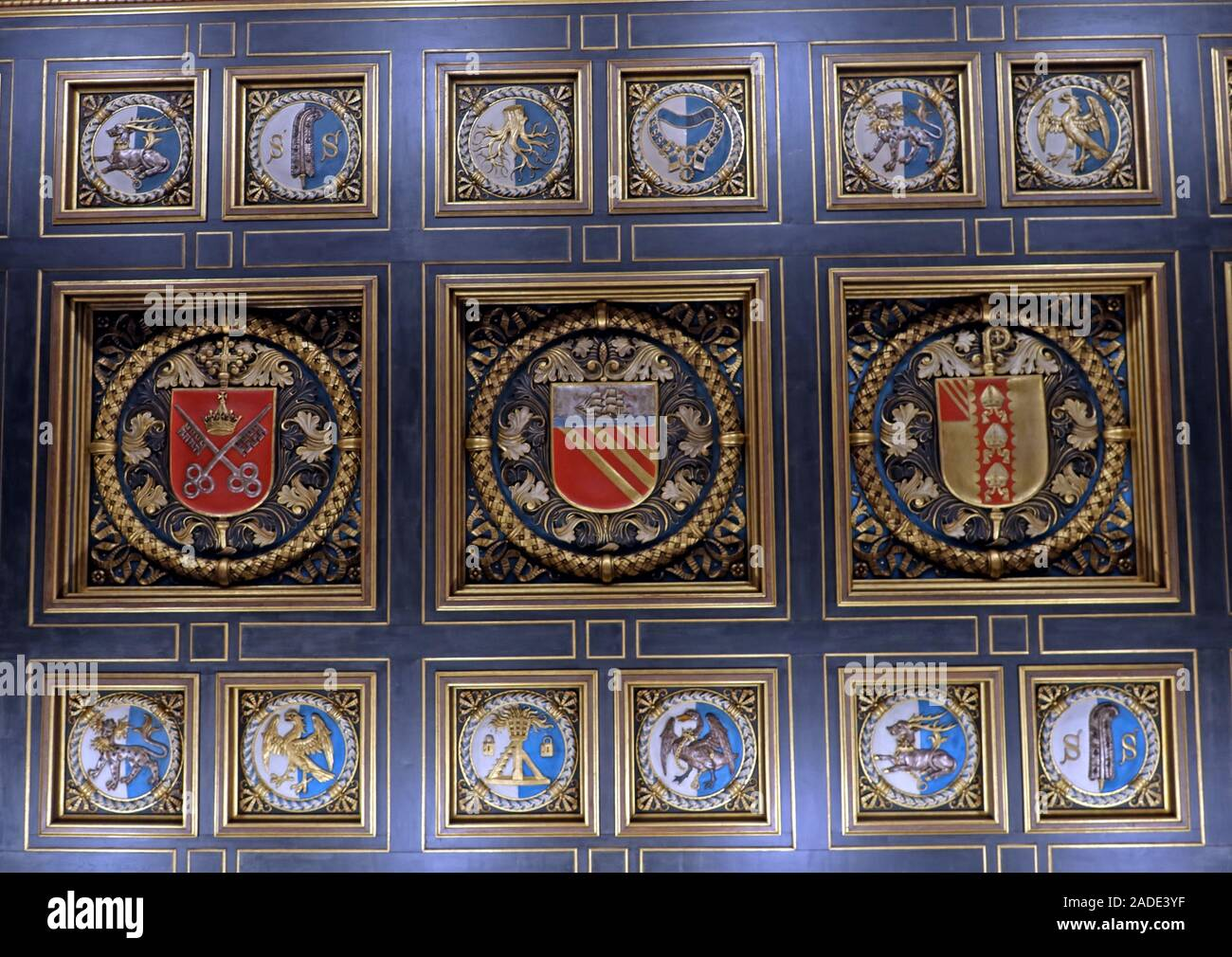 Manchester Central Library - City crest from entrance ceiling,arms and crests of the Duchy of Lancaster, the See of York, the See of Manchester Stock Photo