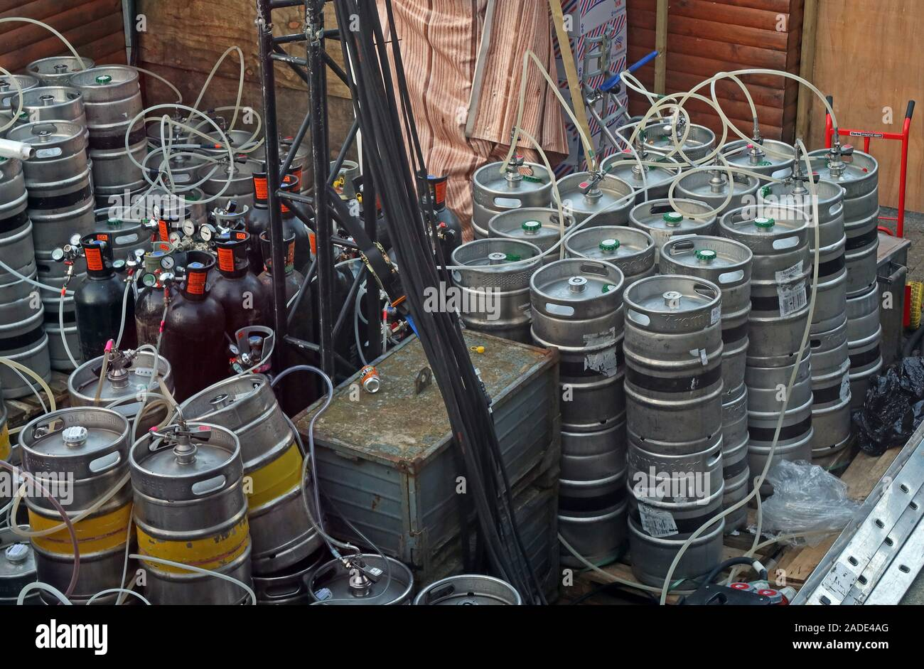 30 beer kegs,connected to a bar,Christmas Bar,German Market,Manchester,England,UK Stock Photo