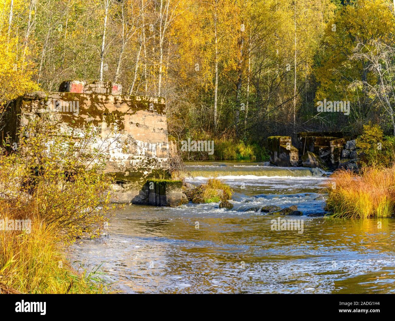 Autumn landscape in Karelia with a river.  Karelia, Russia. 06.10.2019. Stock Photo