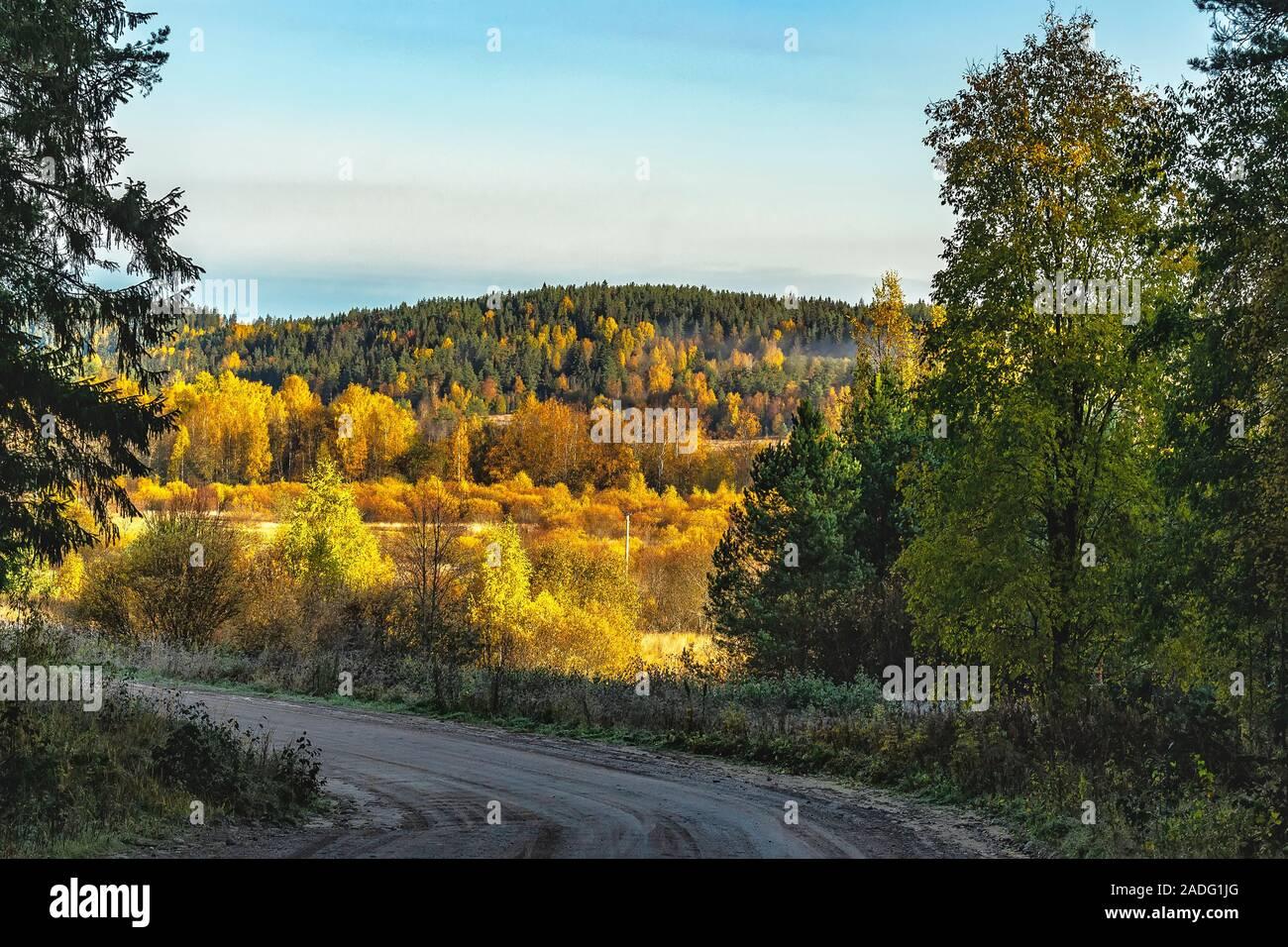 Autumn landscape in Karelia with road.  Karelia, Russia. 06.10, 2019. Stock Photo
