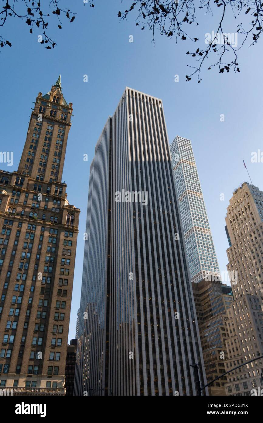 Sherry-Netherland Hotel  and The General Motors Building on Fifth Avenue as seen from Central Park,  NYC Stock Photo