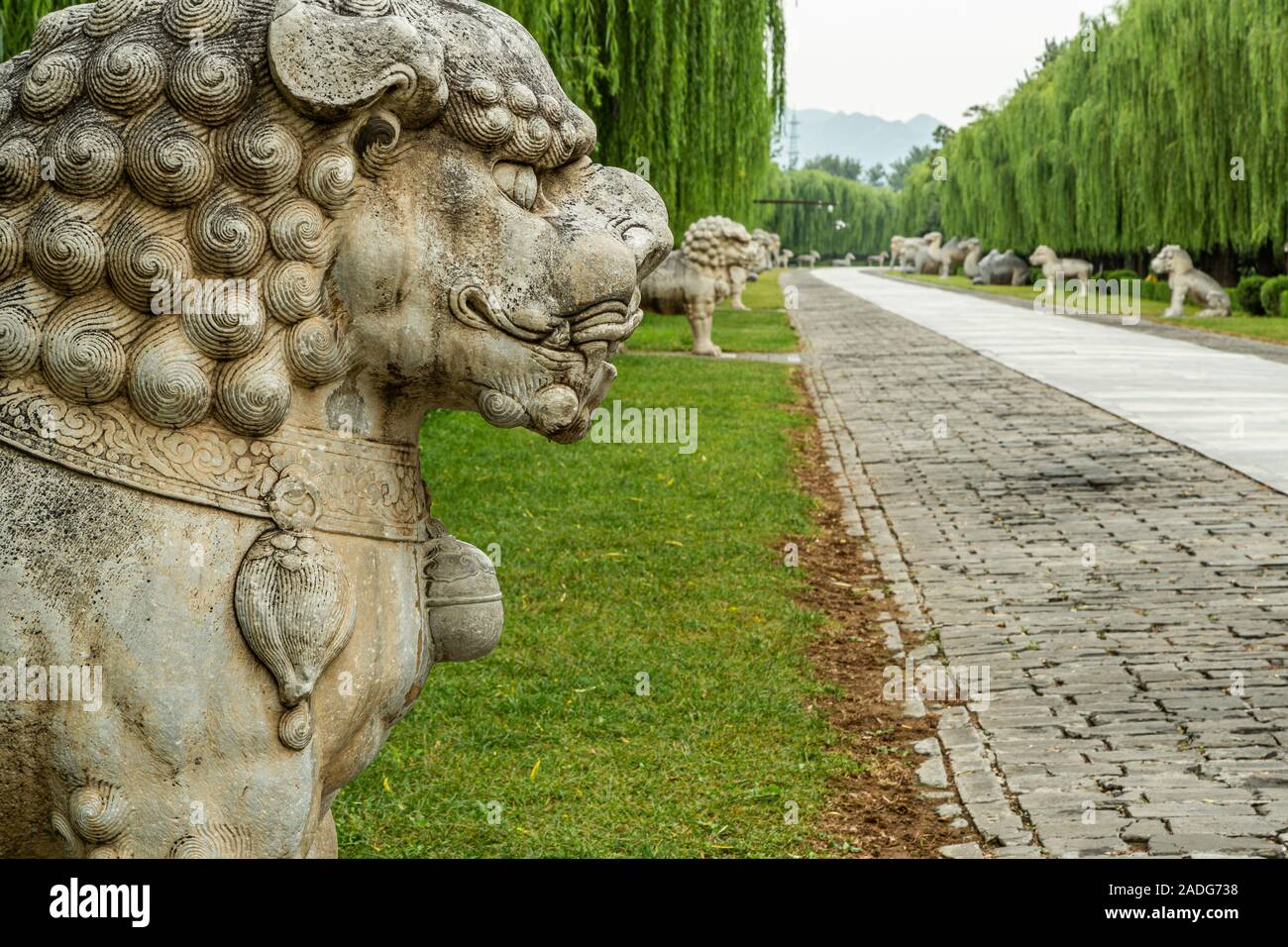 The Sacred Way, is a main road leading to all the tombs of the Imperial Tombs of the Ming and Qing Dynasties with stone sculptures, Beijing China Stock Photo