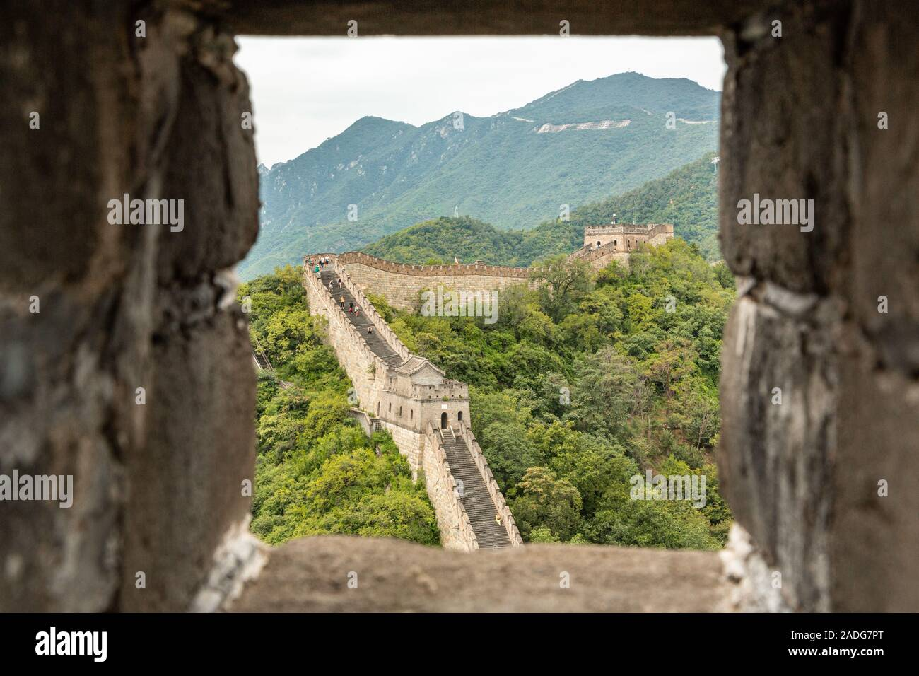The Great Wall of China a UNESCO World Heritage site as seen from Mutianyu in the Huairou District, 70 kilometres north of Beijing China Stock Photo