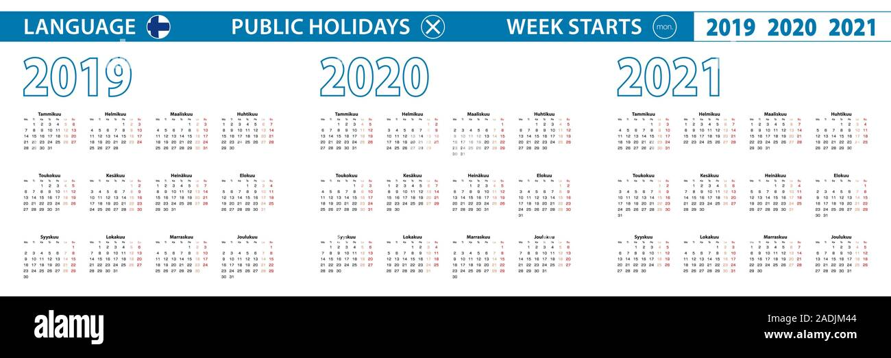 Simple calendar template in Finnish for 2019, 2020, 2021 years. Week starts from Monday. Vector illustration. Stock Vector