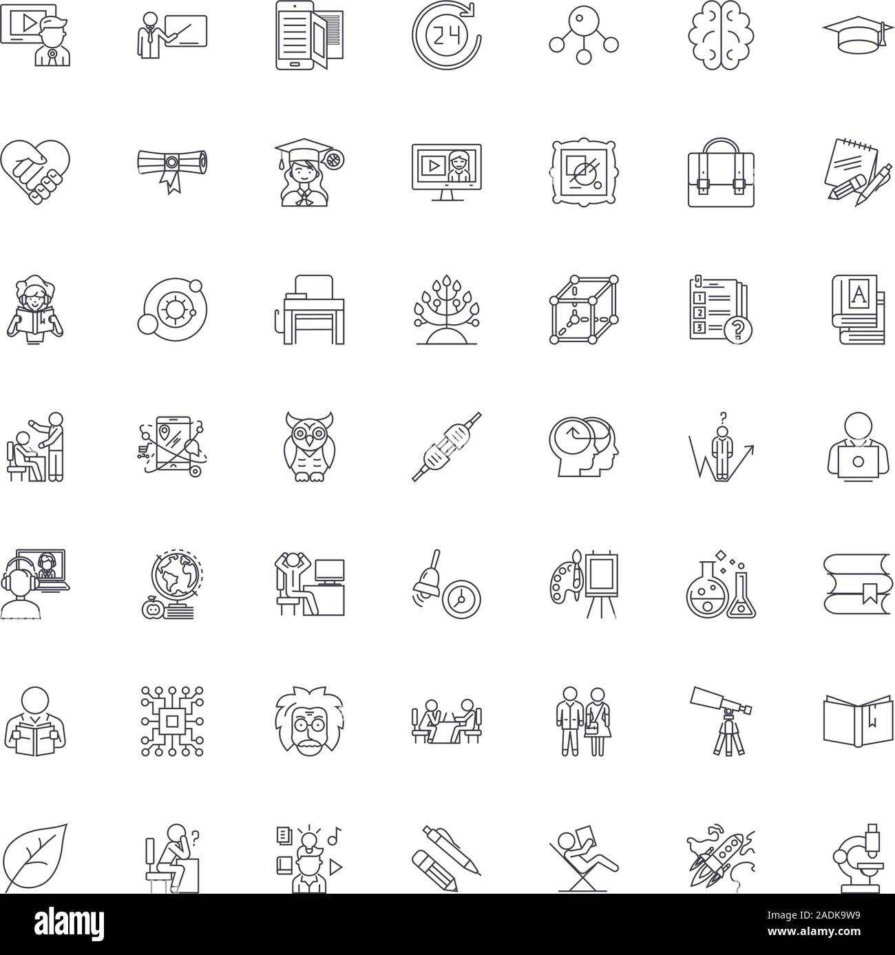 Education structure line icons, signs, symbols vector, linear illustration set Stock Vector