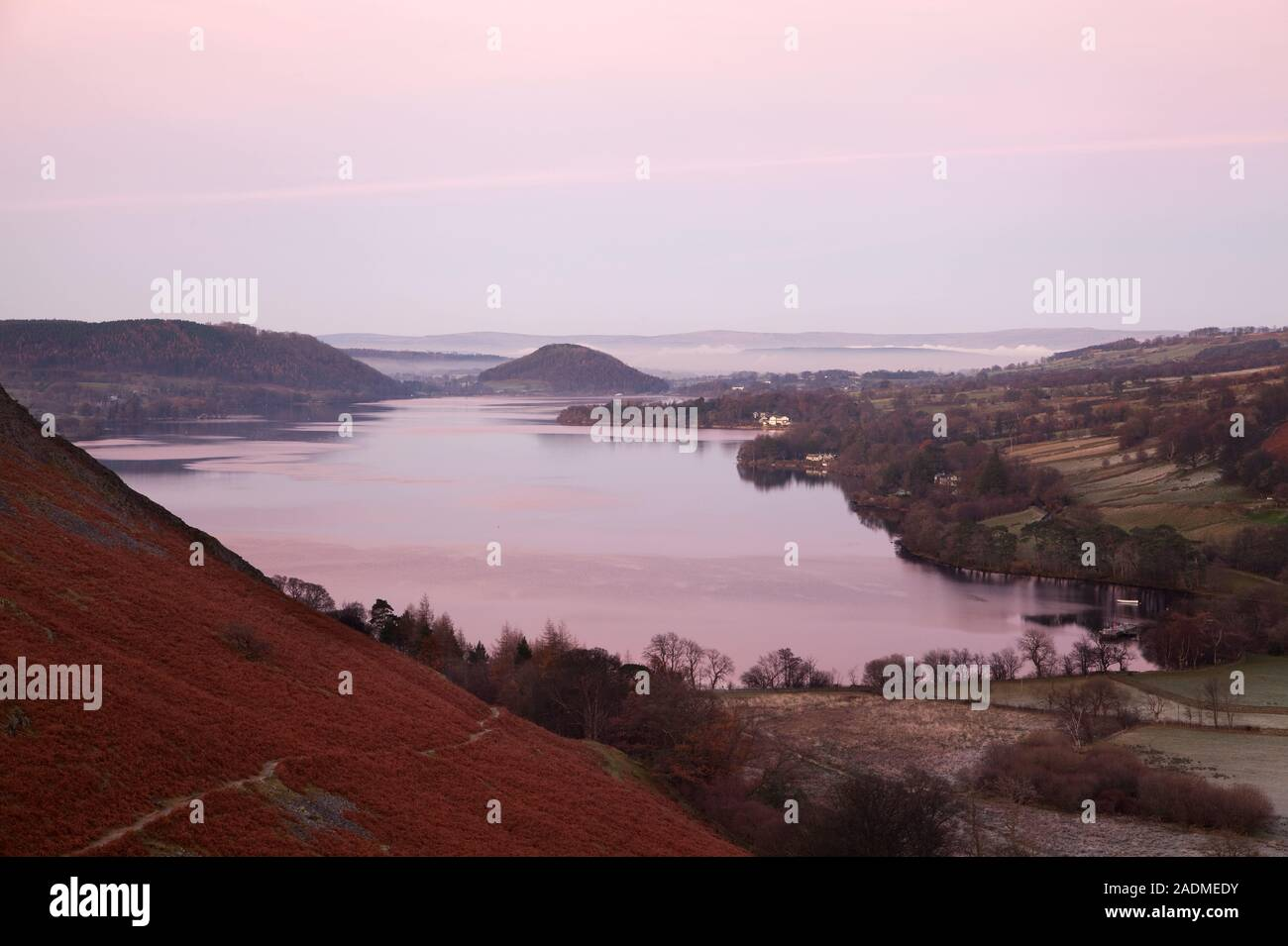 Sunset over Ullswater, in the English Lake District Stock Photo