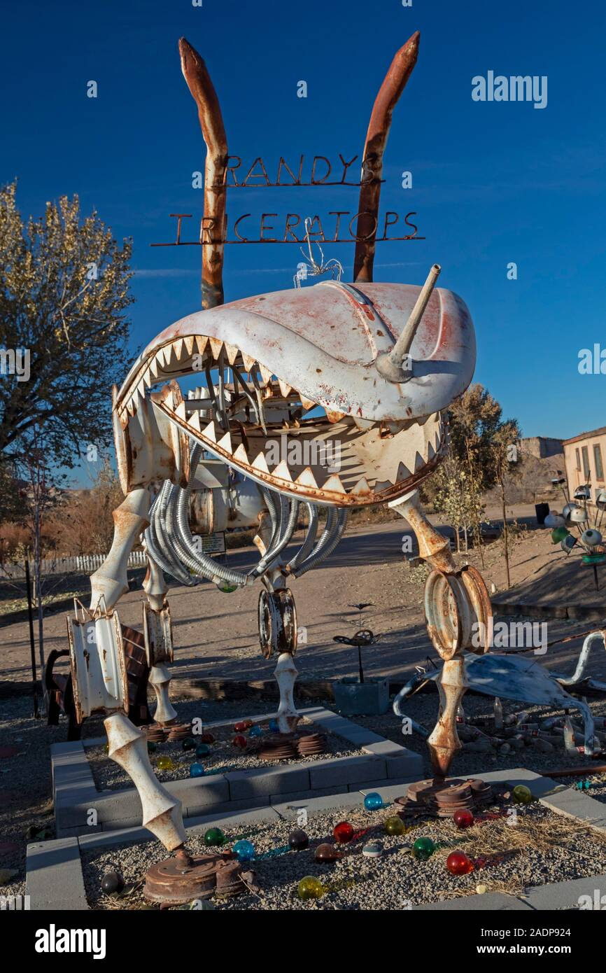 Hanksville, Utah - Carl's Critter Garden, a sculpture park created from scrap materials. It includes a representation of a triceratops. Stock Photo