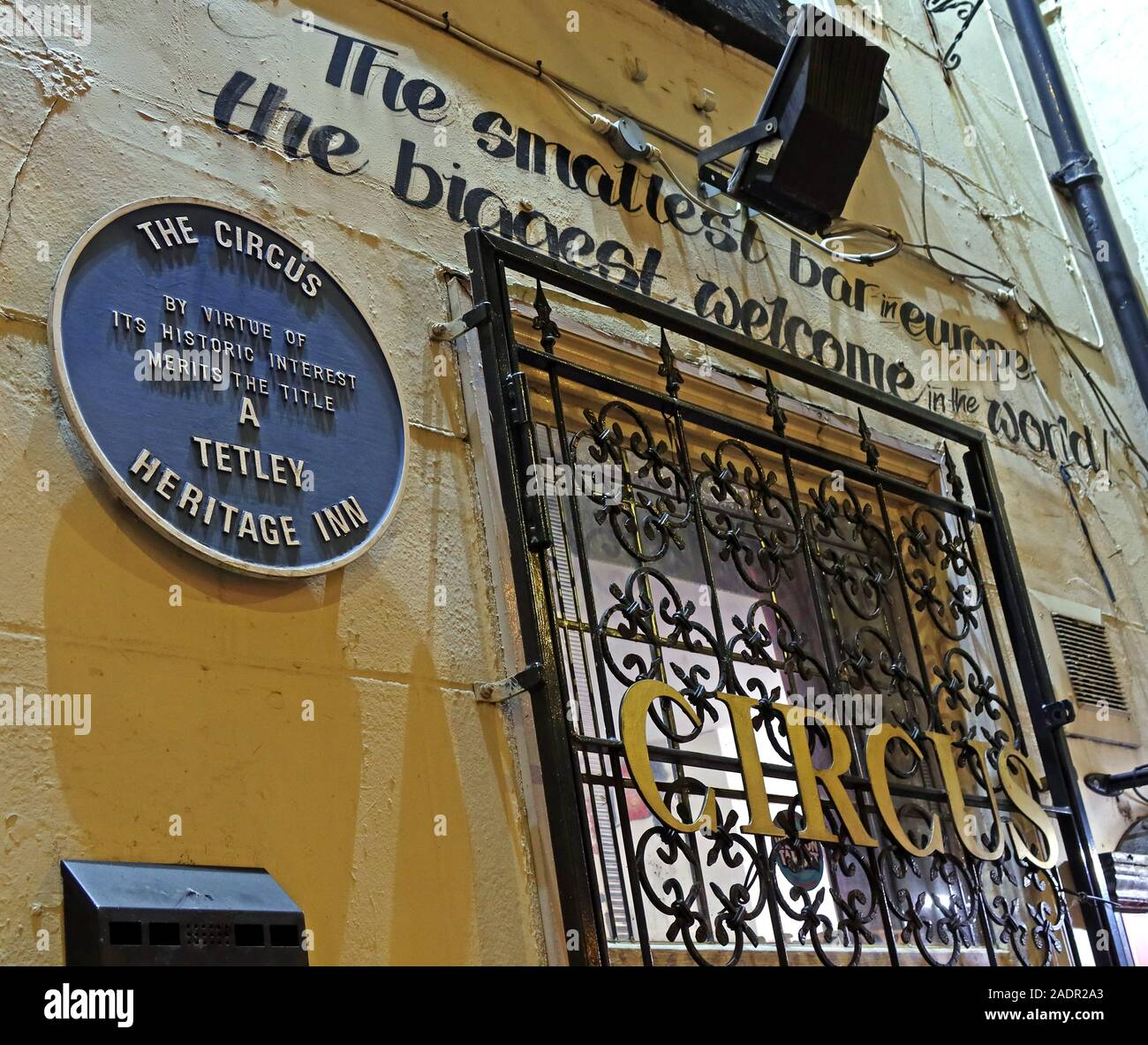 The Circus Tavern pub, 86 Portland St, Manchester, England, M1 4GX - Smallest pub in Europe, outside exterior Stock Photo