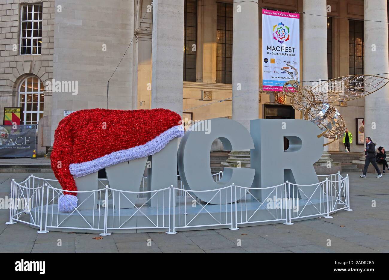 Christmas hat on a MCR,Christmas decorations,outside Manchester Central Library,St Peter's Square, Manchester M2 5PD Stock Photo