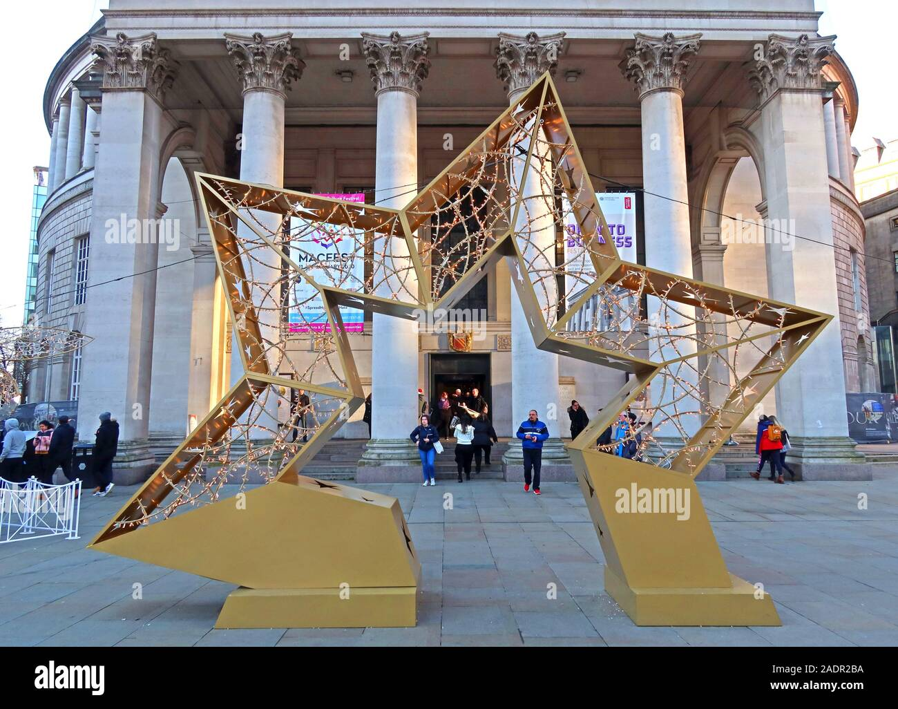 Golden star,Christmas decorations,outside Manchester Central Library,St Peter's Square, Manchester M2 5PD Stock Photo