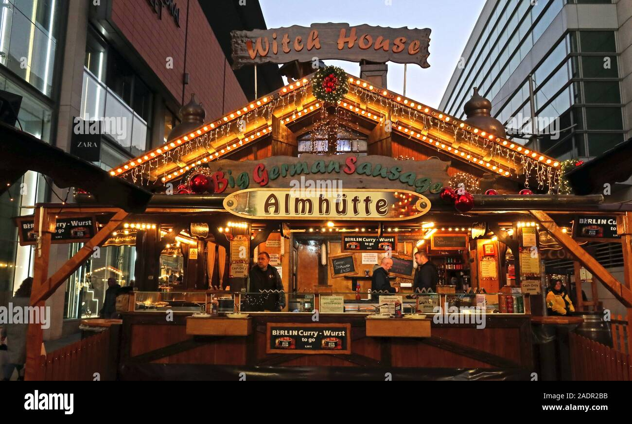 Witch House,Almhutte,curry wurst, Stall at Manchester Christmas markets,German Markets,Manchester Xmas celebrations, retailing in the city centre Stock Photo