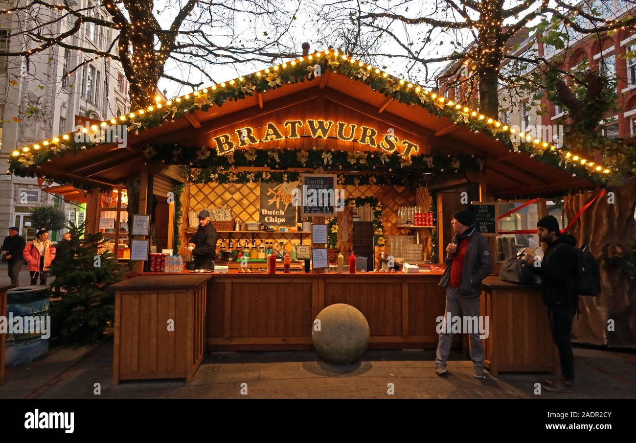 German Sausage Bratwurst Stall at Manchester Christmas markets,German Markets,Manchester Xmas celebrations, retailing in the city centre Stock Photo