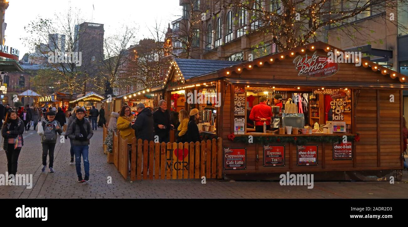Stall in St Anns Square, at Manchester Christmas markets,German Markets,Manchester Xmas celebrations, retailing in the city centre Stock Photo