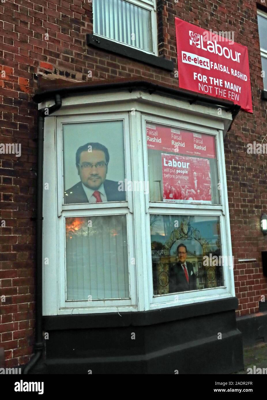 Warrington South MP Office, Re-Elect Faizal Rashid Labour Candidate General Election 2019, Cheshire, England, UK - 1 Wilson Patten St, WA1 1PG Stock Photo