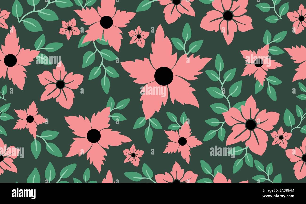 Vintage Floral Pattern Background Modern Leaf Flower Stock Vector