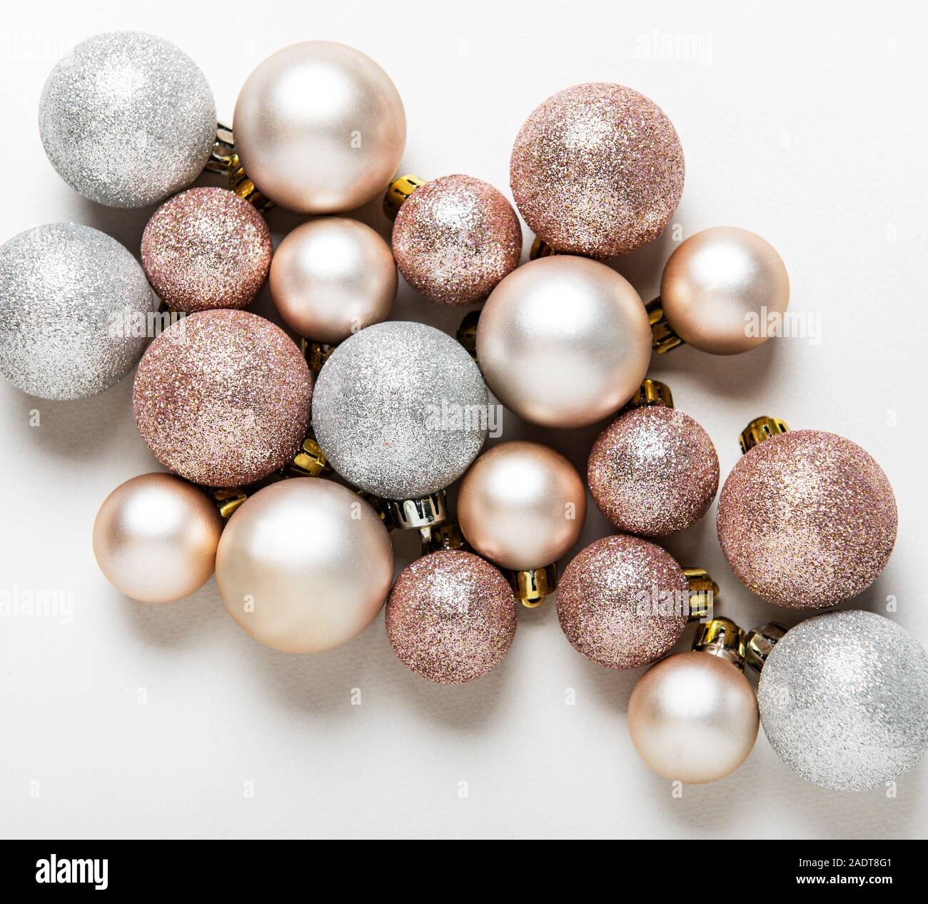 Christmas Balls Background Rose Gold And Silver Toys Baubles On White Background Festive Decoration Flat Lay Top View Stock Photo Alamy