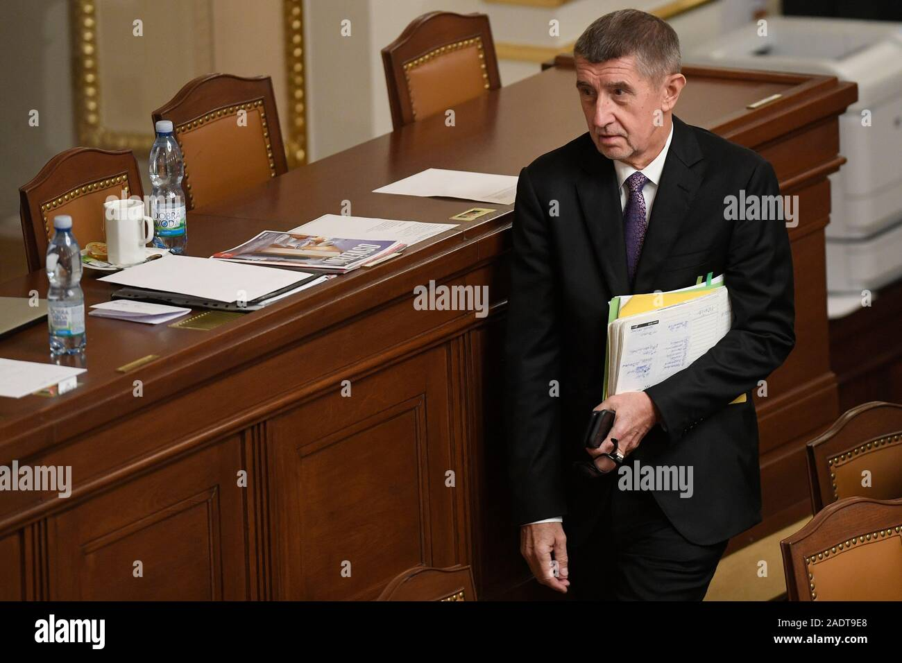 Prague, Czech Republic. 04th Dec, 2019. Czech Prime Minister Andrej Babis are seen during the Chamber of Deputies session on December 4, 2019, in Prague, Czech Republic. The Czech government will not curb the economy even if it slows down, but, unlike its rightist predecessors, it will pump more money in people, wages and investments, Babis (ANO) said in a debate before the final vote on the 2020 state budget bill in the lower house. Credit: Vit Simanek/CTK Photo/Alamy Live News Stock Photo