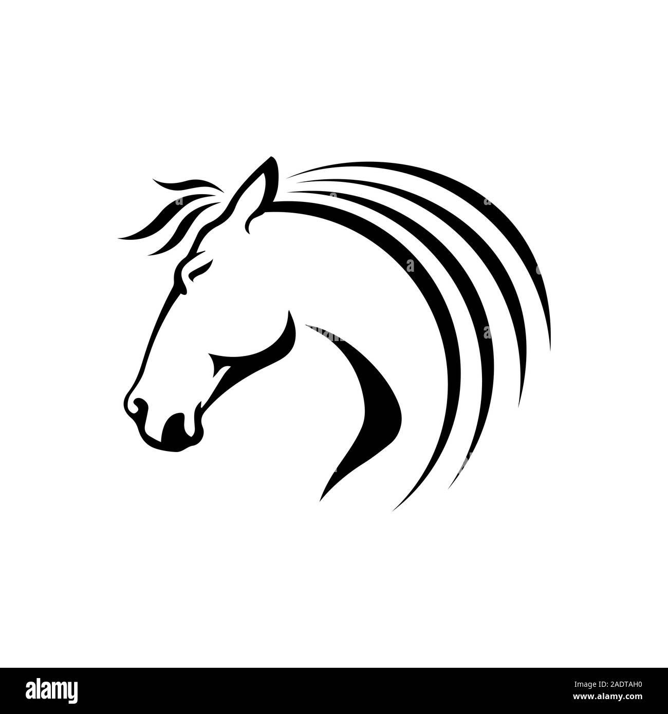 Black Stallion Horse Head Logo Vector Symbol The Silhoutte Of Black Horse Illustration Design Stock Vector Image Art Alamy