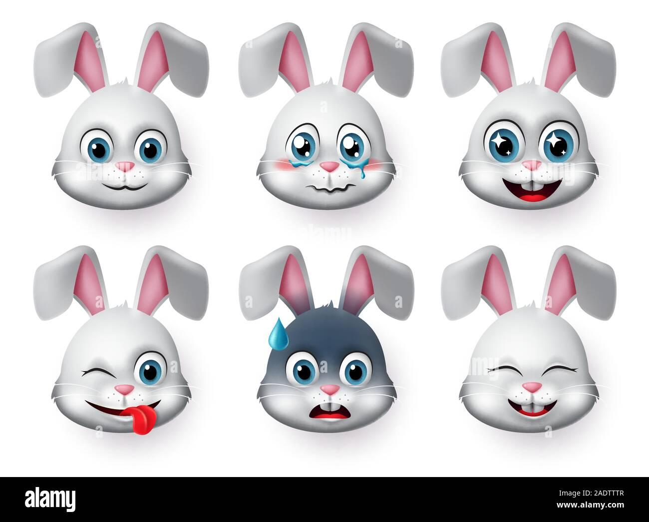 Emoticons And Emoji Rabbit Face Vector Set Rabbits Bunny Faces Animal Emojis In Naughty Crying Excited Smiling And Happy Facial Expressions Stock Vector Image Art Alamy