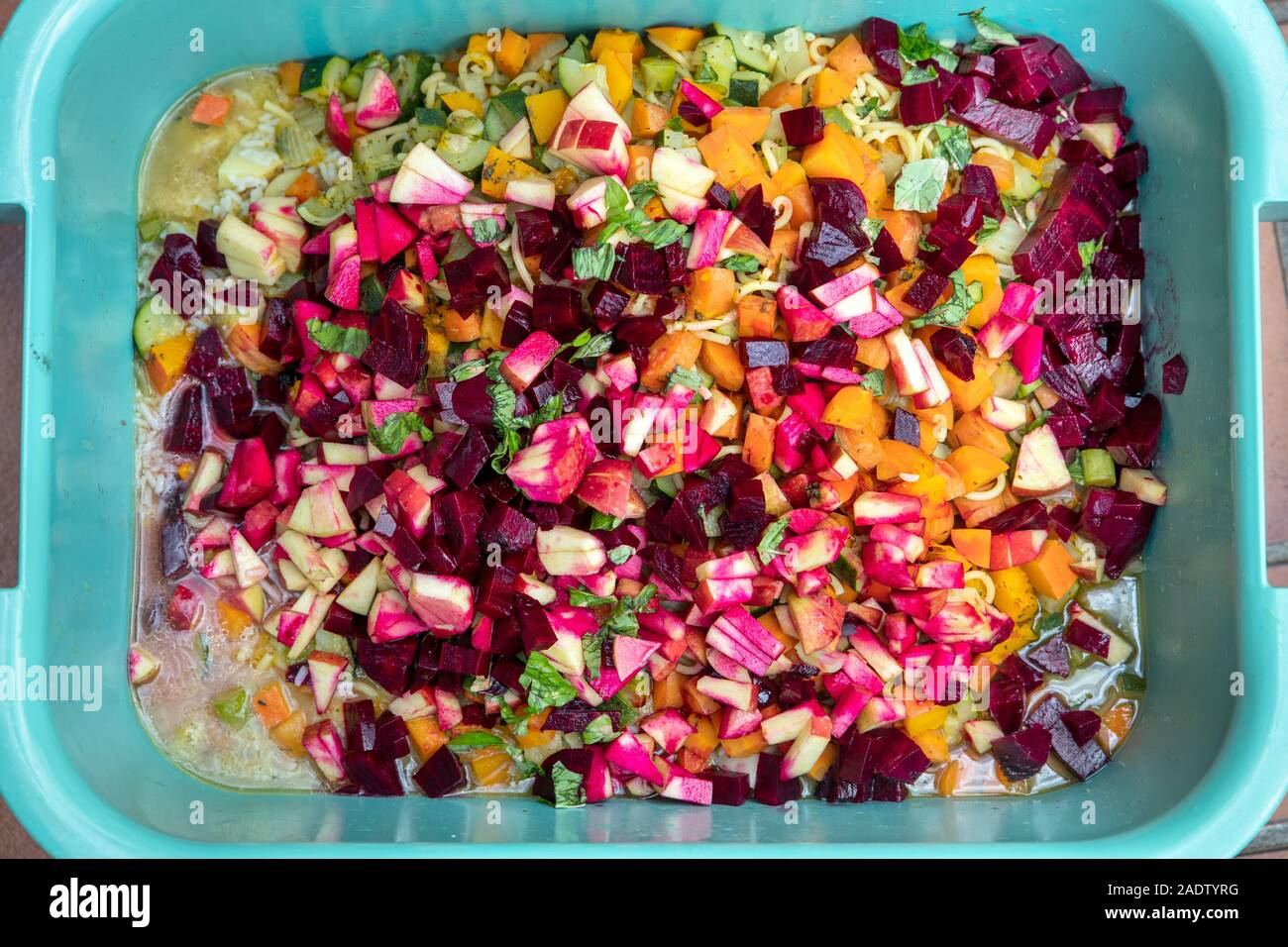 Topview Tub With Vegetables Fresh Fruits And Rice For